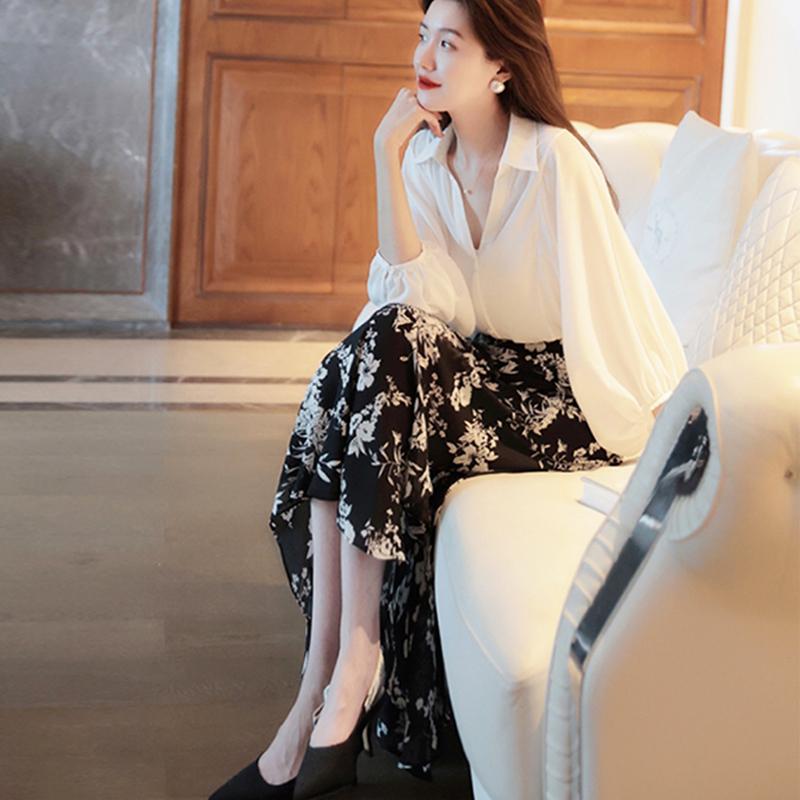 UMOOIE   浪漫一生  花样年华    美貌大花卉黑白印花半裙