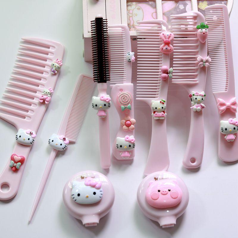 梳子少女可爱宝宝儿童化妆猫梳粉色小女孩梳卡通发发型造型凯蒂扎