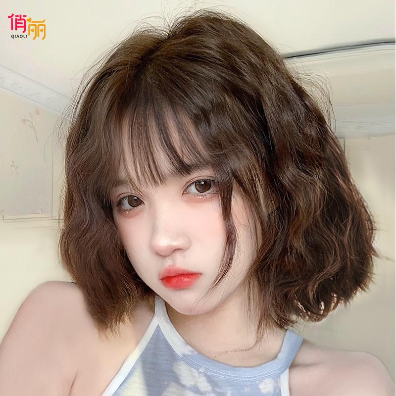 假发短发女夏季全头套式网红圆脸短卷发自然减龄羊毛卷仿真假发套