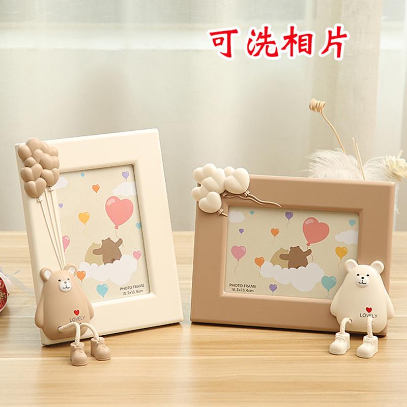 7寸创意可爱相框摆台照片摆件儿童房桌面相架卡通老鼠家居装饰品