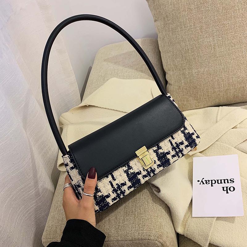 高级感包包洋气女包新款2021流行韩版时尚撞色百搭单肩手提小方包