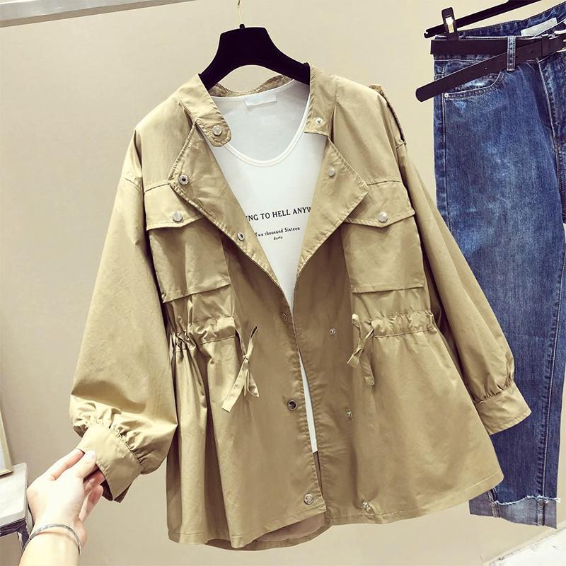 小个子风衣女短款2021年秋季新款韩版薄款流行宽松收腰休闲外套女