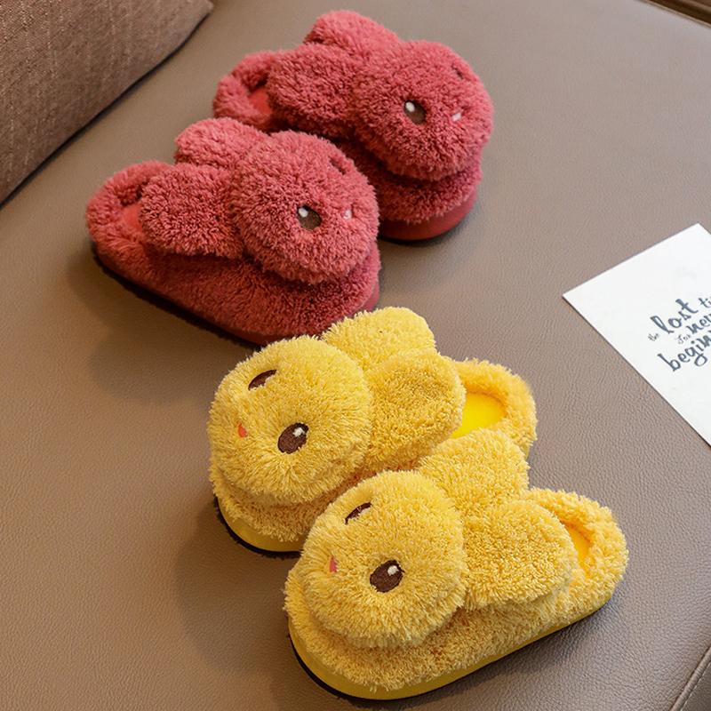儿童拖鞋女童男童冬季防滑室内居家毛毛包跟亲子宝宝棉拖鞋中大童