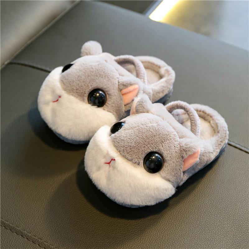 男童女童棉拖鞋秋冬季宝宝婴儿童防滑小孩室内1-3岁家用幼儿毛毛2