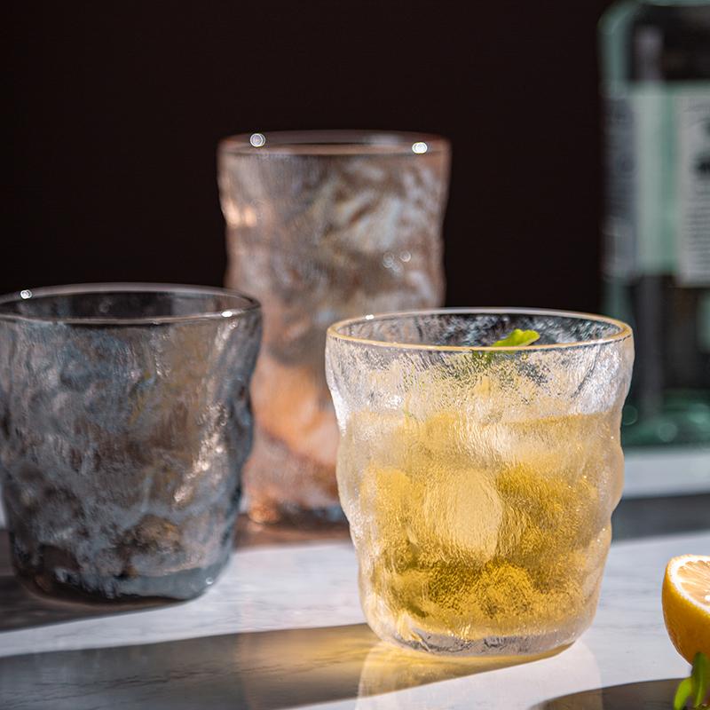 冰川纹玻璃杯高颜值水杯女果汁饮料杯子女夏ins风咖啡杯啤酒杯男