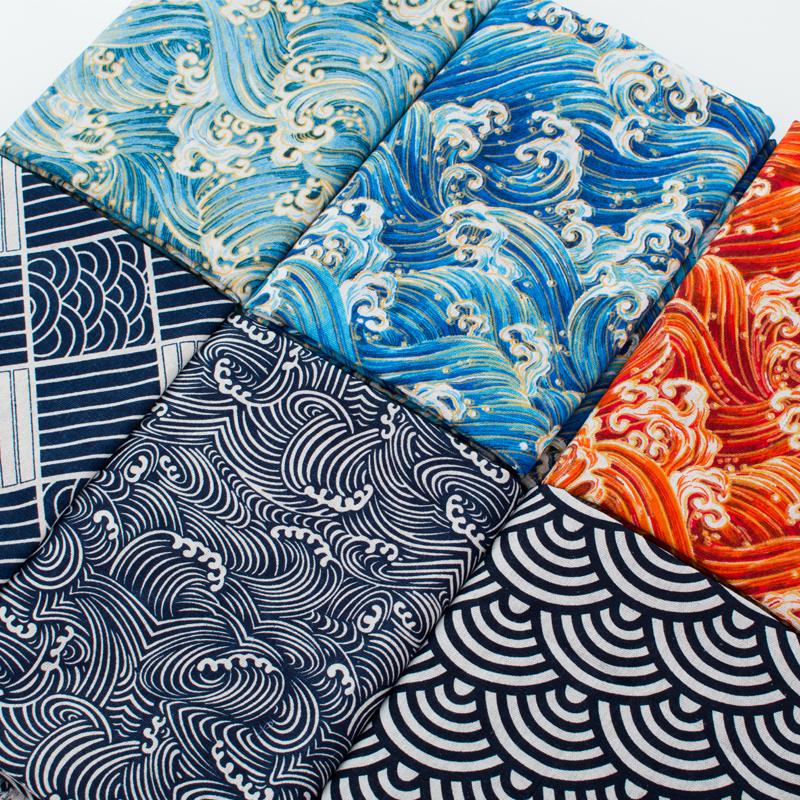 棉麻烫金加厚和风日式民族布料粗麻布面料沙发抱枕靠垫桌布几何
