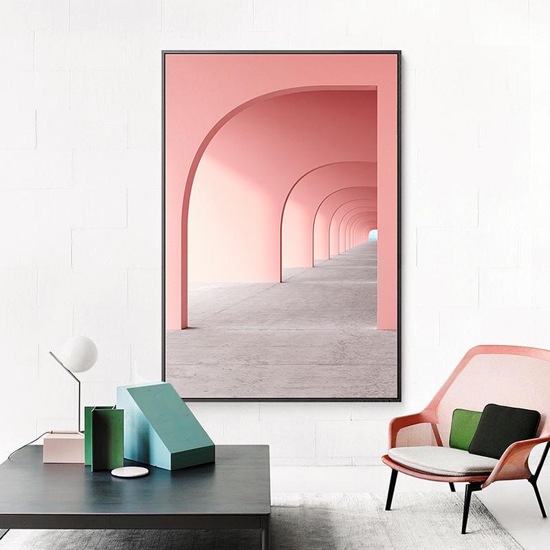 简约现代北欧粉色几何建筑走廊莫兰蒂色玄关装饰画图片画芯