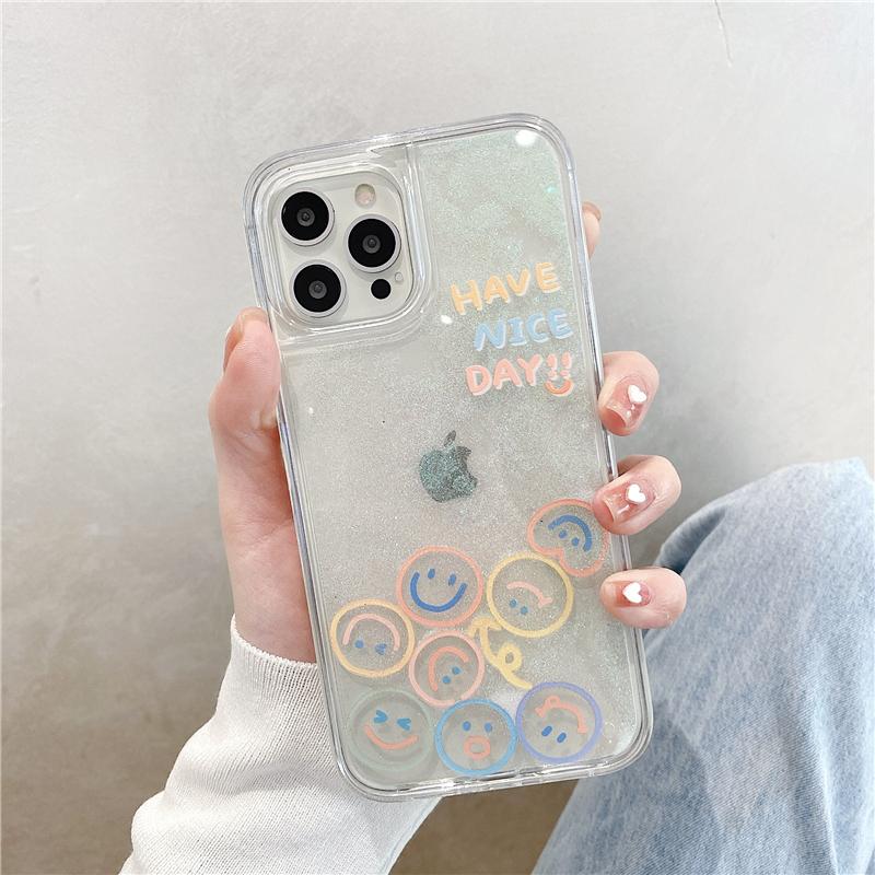 液体流沙笑脸表情适用iPhone12Pro max苹果11手机壳ins风网红x/xs女8plus新款7p透明xr全包防摔se2硅胶保护套