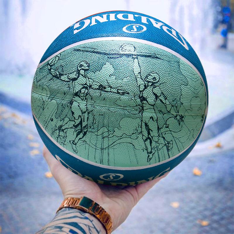 斯伯丁官方正品七号成人比赛耐磨水泥地花式涂鸦街头篮球84-453Y