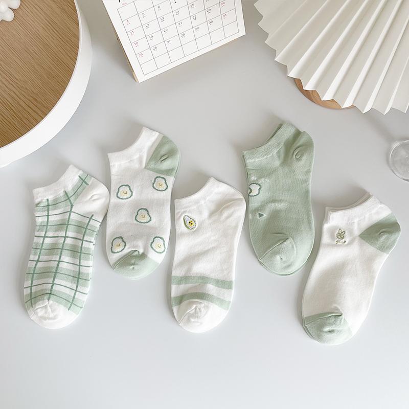 坚果妈咪 绿色袜子女夏季薄款ins潮可爱日系低帮浅口夏天隐形船袜