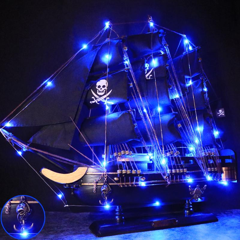实木质海盗船大帆船模型手工艺品客厅家装饰品小摆件创意生日礼物