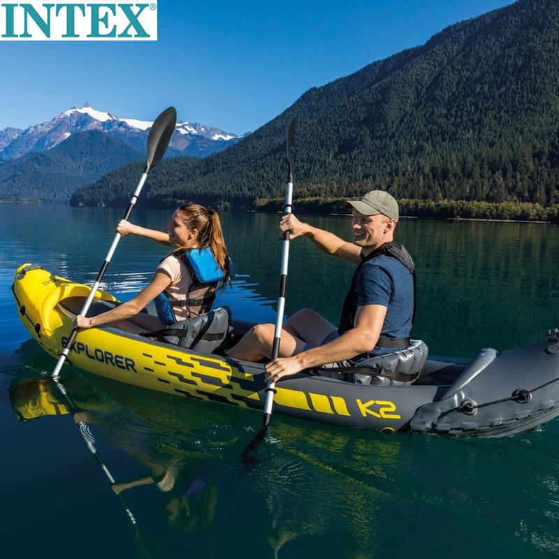 正品INTEX探险者二人充气船两人充气艇橡皮划艇2人冲锋独木舟加厚