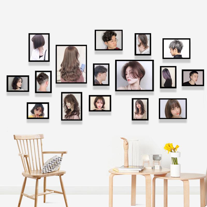 理发店墙面装饰照片墙免打孔发型图片美发店挂装饰画发廊壁画墙画