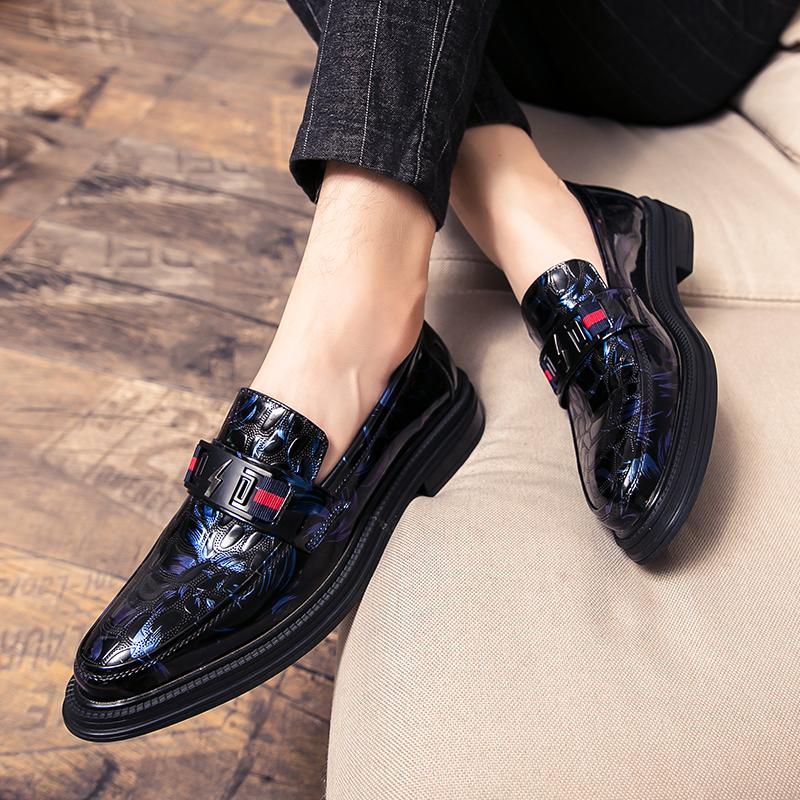 布洛克男士厚底韩版潮流百搭英伦发型师内增高流苏一脚蹬男生皮鞋