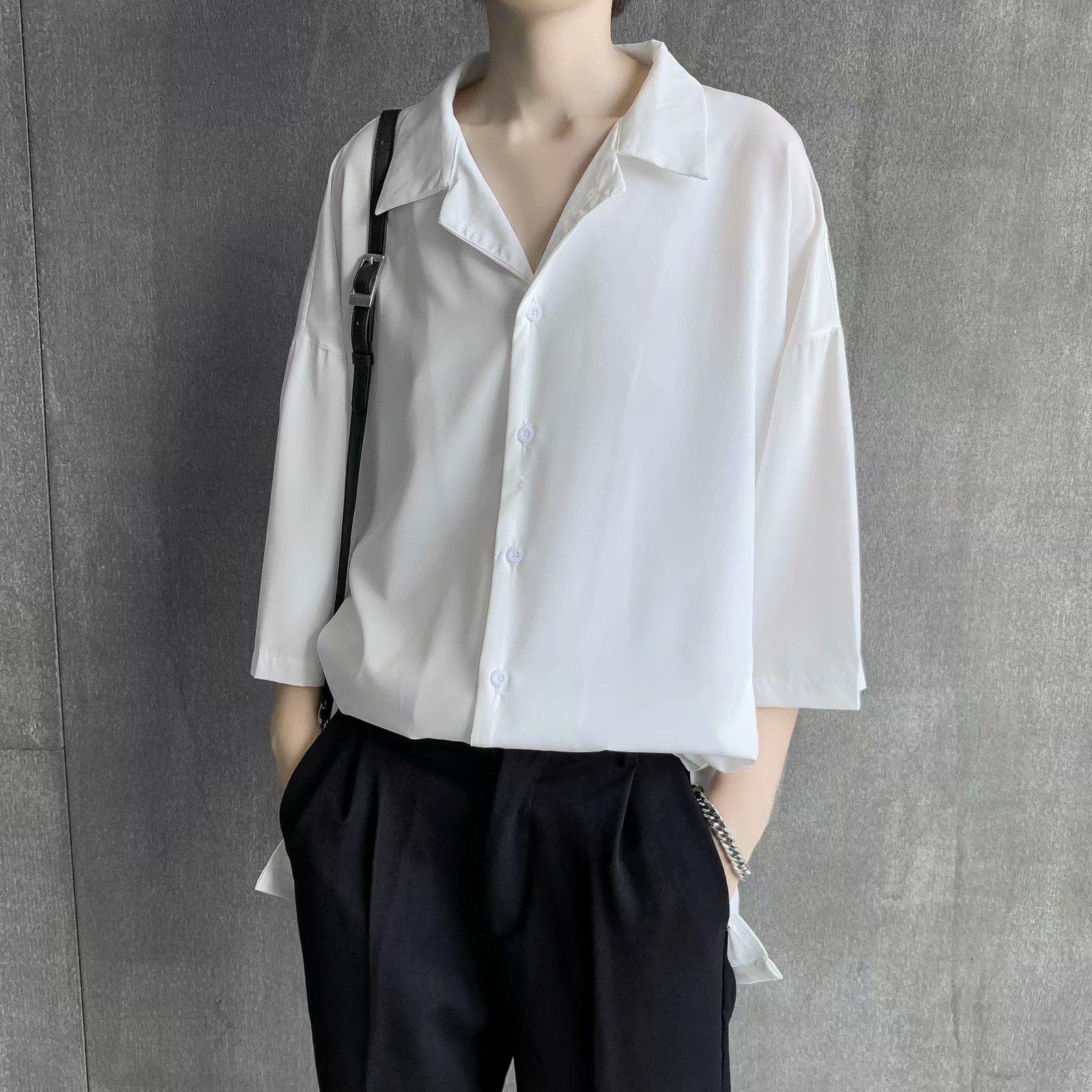 发型师潮牌男装盐系炸街上衣男生高级感衬衫夏季短袖禁欲系七分袖