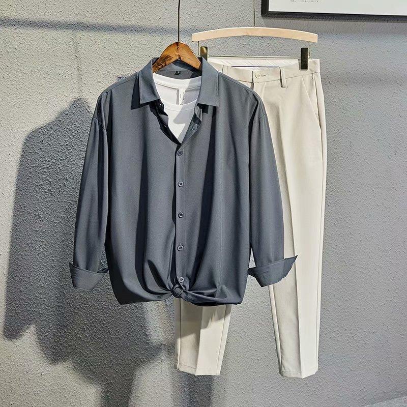 2021新款发型师网红套装男生高端冰凉帅气衬衫西裤休闲坠感衬衣潮