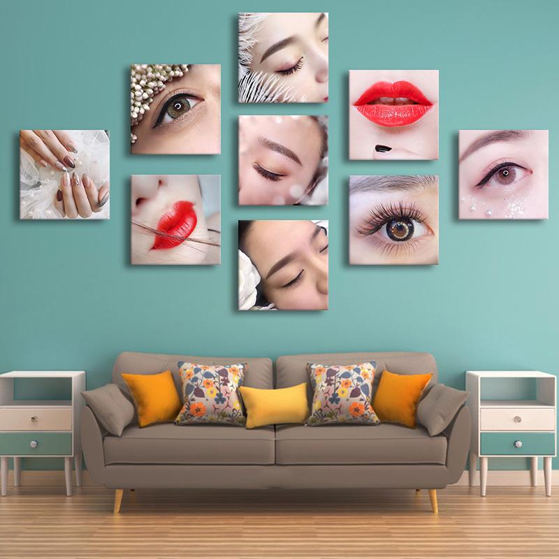 眉眼唇装饰挂画半永久美甲美睫宣传素描墙壁画美容院墙贴纹绣图片