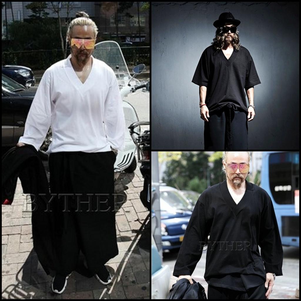 T恤衫上衣服装日系复古日本武士汉服和服休闲传统男装发型师夏装