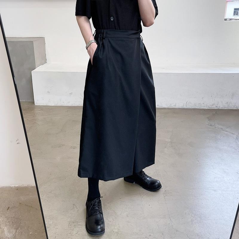 日系山本暗黑武士宽松阔腿裤男女同款发型师个性裁剪小众八分裙裤