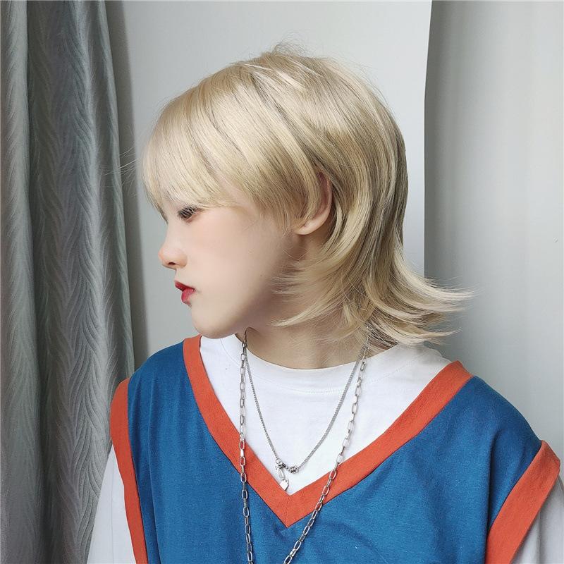 狼尾假发武士发型日式中性鲻鱼头cosplay日系超A自然蓬松头套发套