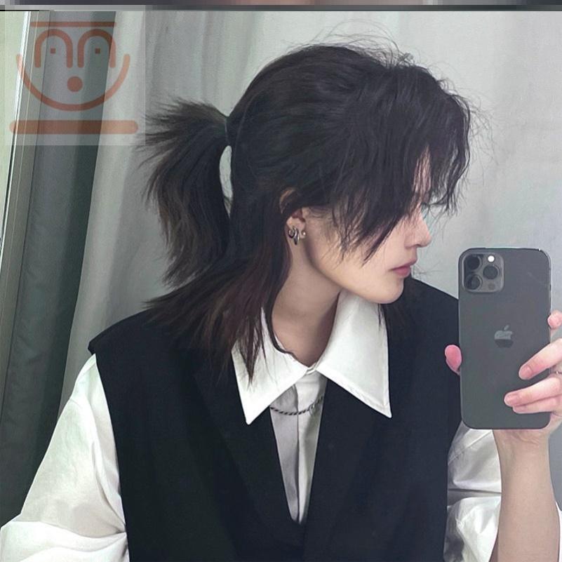 武士头假发男短发韩版帅气日系cos可扎发型设计男女通用超A全头套