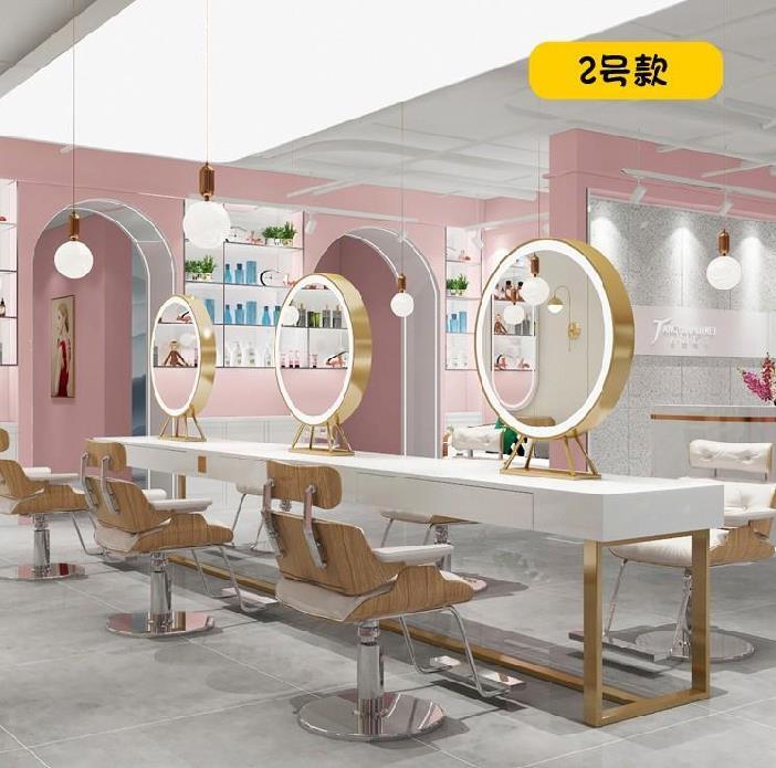理发店镜台led带灯装修风格简约镜子圆形美发高端美发店镜片工。