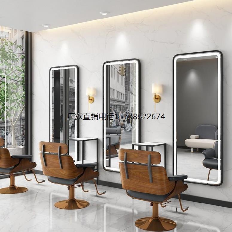 理发店墙上挂的镜子发廊专业镜台家具带灯装修R风格简约网红美发