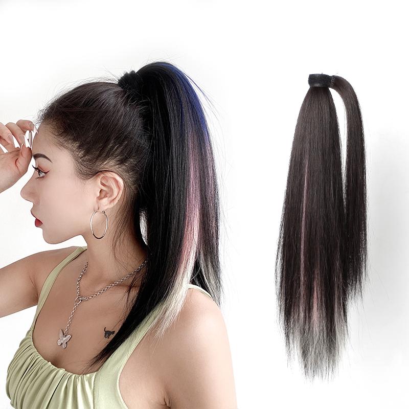 马尾假发女挑染中长发 绑带式魔术贴 自然无痕网红捆绑式直发辫子