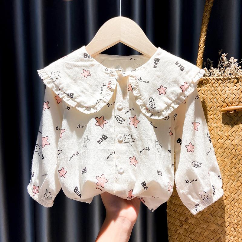 女宝宝秋季长袖衬衫1-3岁小女孩娃娃衫4儿童洋气衣服星星印花上衣