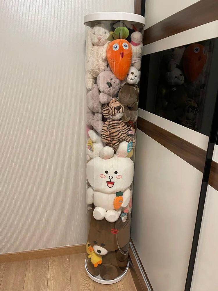娃娃收纳桶透明PVC圆柱形筐带盖神器装大玩具公仔毛绒玩偶展示筒
