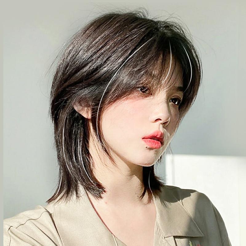 假发女短发自然全头套式网红夏天圆脸锁骨发造型仿真中长发假发套