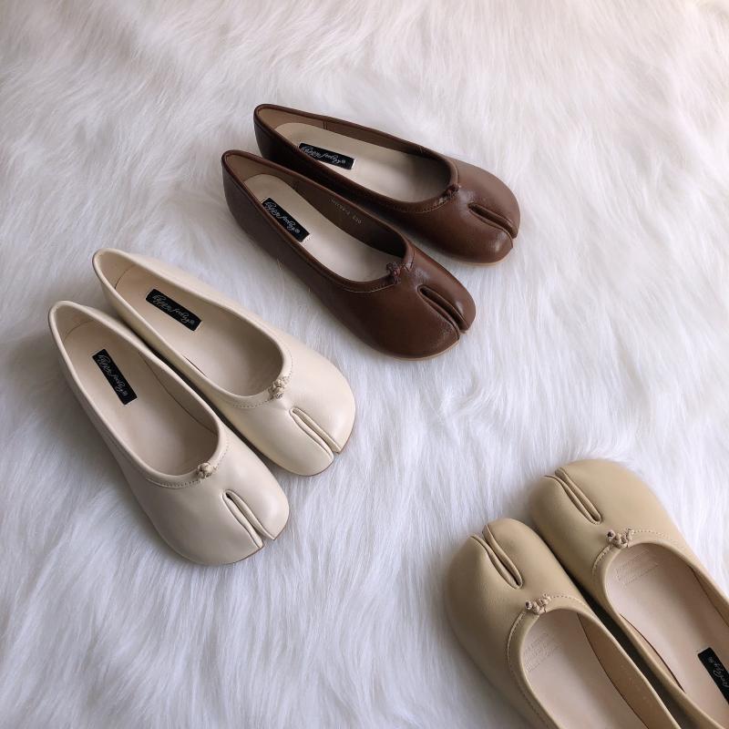 马蹄猪脚分趾单鞋韩版学生平底包头半拖拖鞋女外穿时尚羊蹄猪蹄鞋