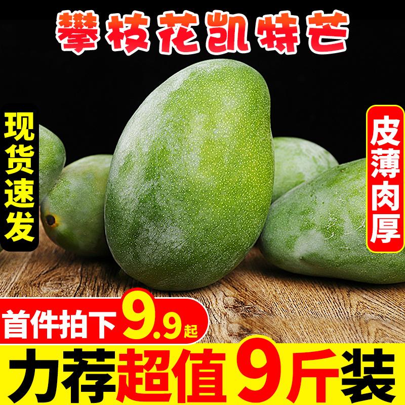 攀枝花凯特芒果9斤新鲜青皮芒应当季水果整箱包邮现摘热带芒果10