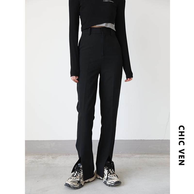 CHICVEN 2021年秋高腰百搭前开叉黑色垂感显瘦休闲西装裤女超模裤