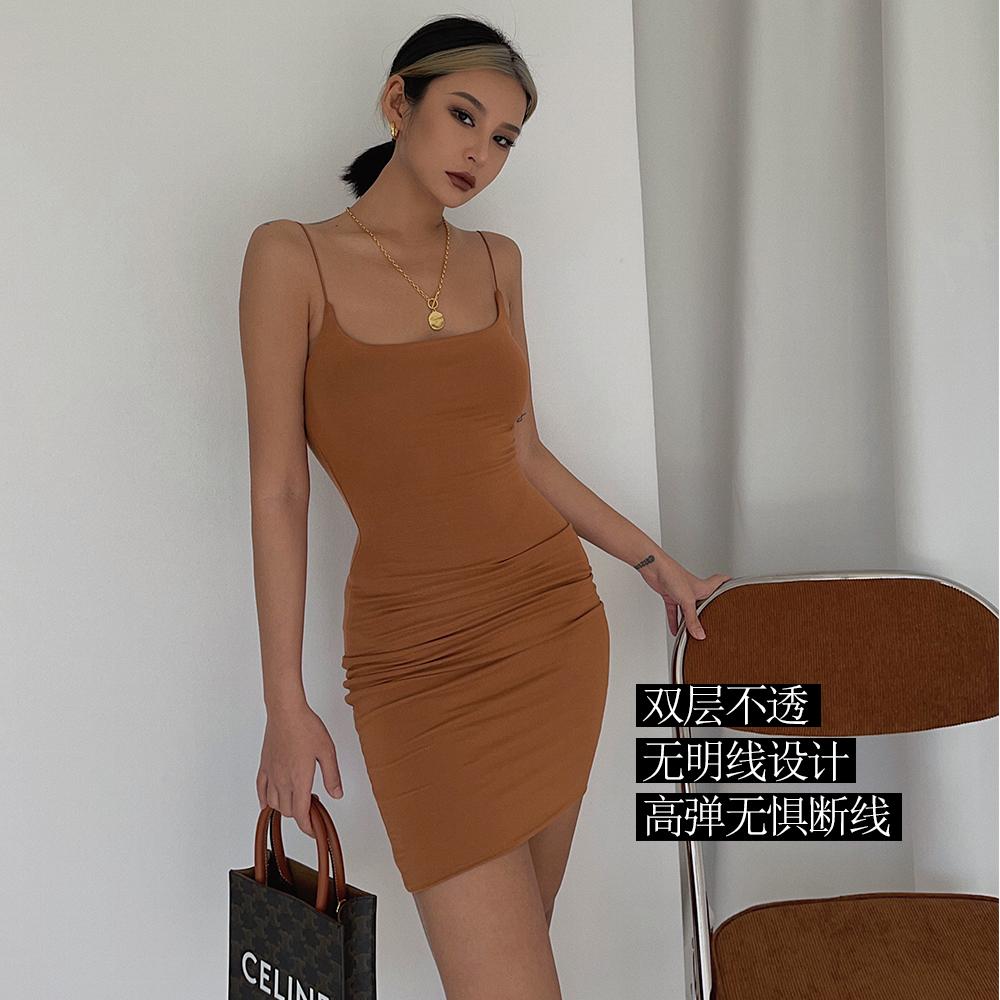 自制 高品质 双层吊带裙连衣裙 超模气场S曲线包臀短裙性感一夏飒