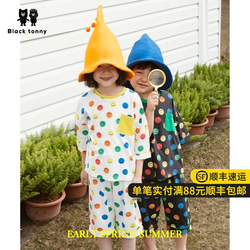 2021小黑托昵托尼男童莫代尔棉家居服短袖套装中小童儿童装夏套装