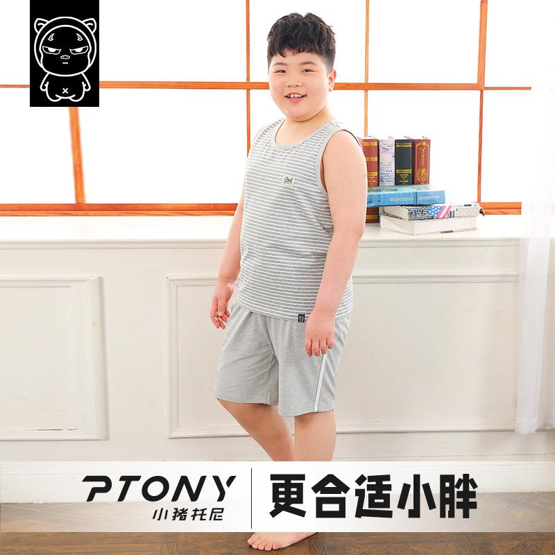 胖童装男童加肥加大夏装小猪托尼男孩子家居服无袖套装胖童睡衣