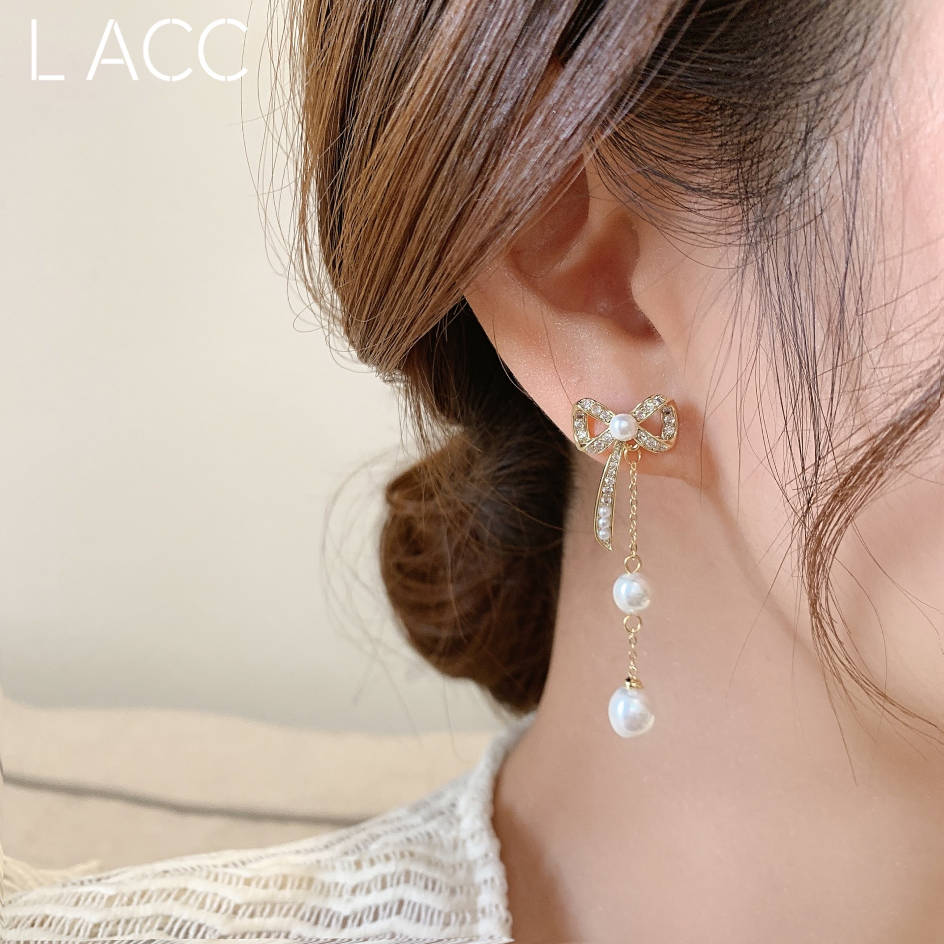 韩国东大门 珍珠流苏蝴蝶结925银针 修饰脸型的耳环