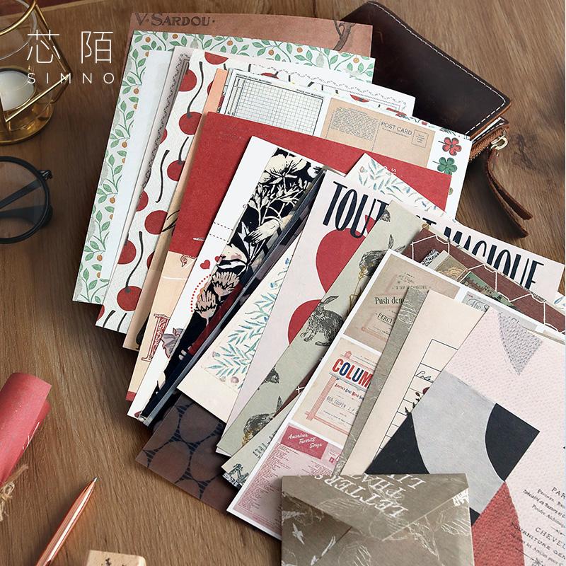 不重复混合材质特种纸便签纸芯陌随风无粘性复古手帐拼贴素材纸