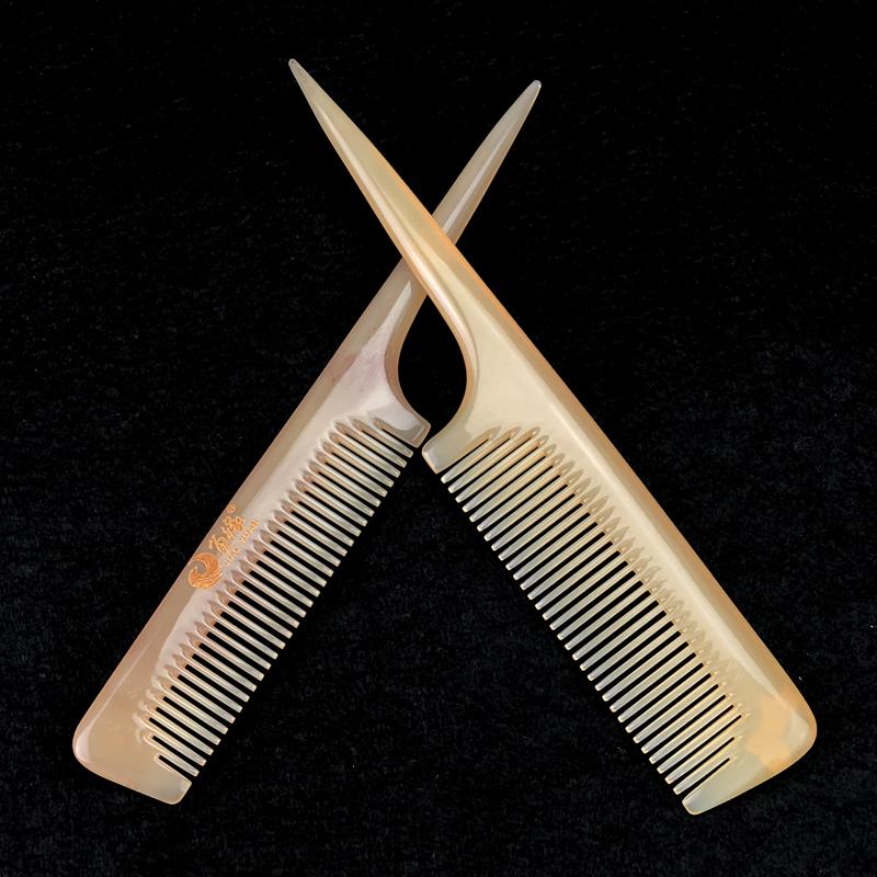 角缘天然牛角梳发型梳羊角梳宝宝挑分发梳女孩扎辫子儿童尖尾梳子