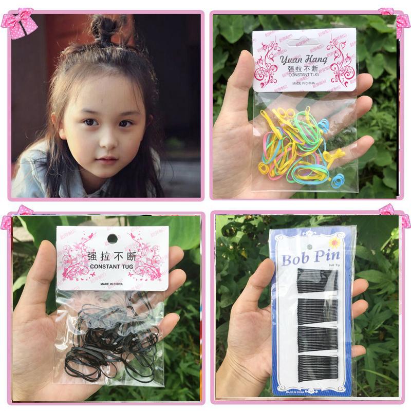儿童成人舞台妆表演出黑彩色皮筋发绳 一字夹卡子发夹 梳子发型