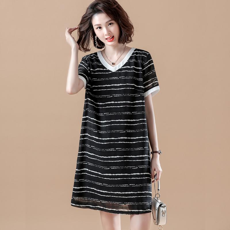 胖妹妹遮肚子显瘦雪纺连衣裙大码女装2021年新款夏装韩版减龄裙子