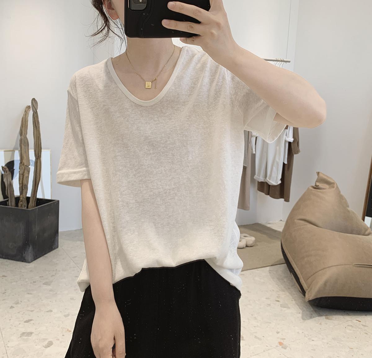 v领t恤女夏季新款宽松显瘦韩版简约打底衫减龄基础款短袖亚麻上衣