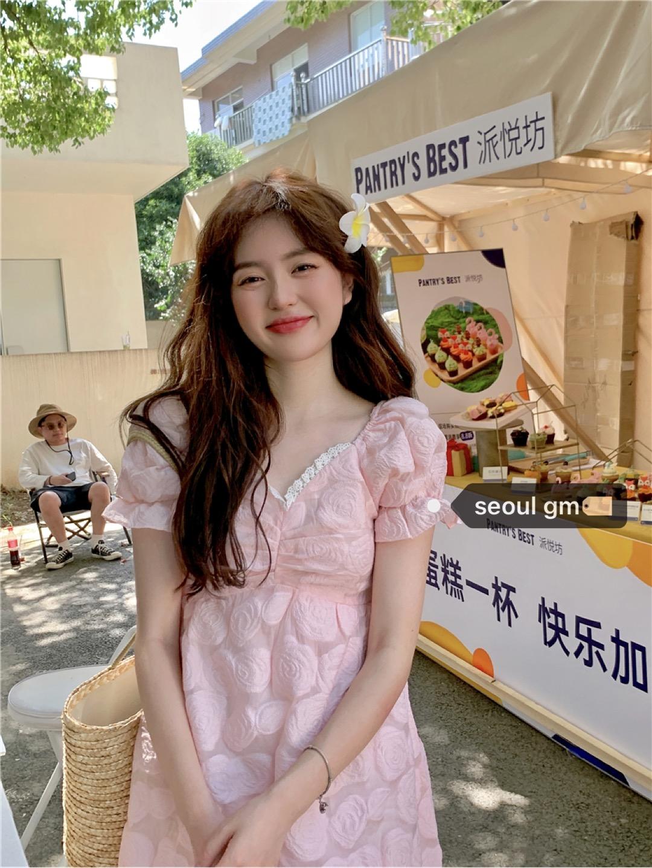 SEOUL人间洋娃娃~韩系甜美洋气减龄法式重工粉色花朵初恋连衣裙女