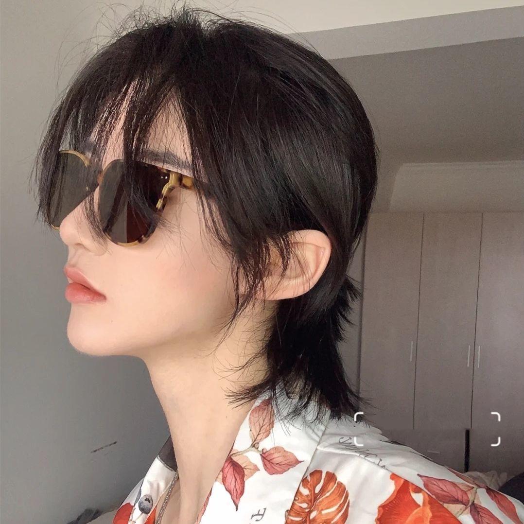 鲻鱼头假发女短发酷帅气狼尾头个性潮流短卷发自然时尚新全头套式