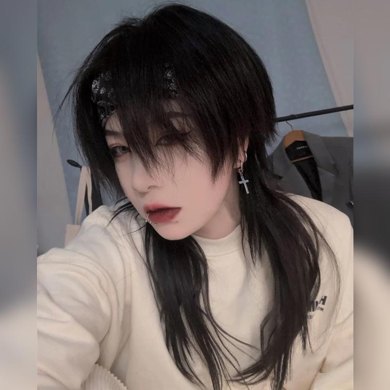 鲻鱼头假发男女帅气短发中分刘海狼尾时尚个性男女通用自然全头套