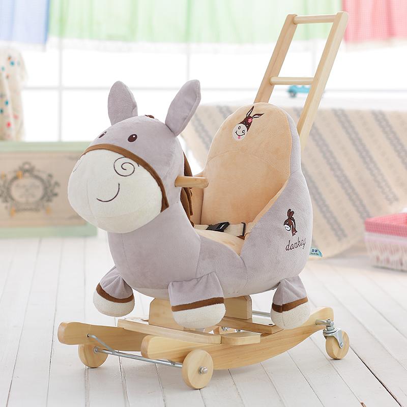 蓝鱼毛驴儿童音乐摇摇马婴儿玩具车小木马实木宝宝摇摇车周岁礼物