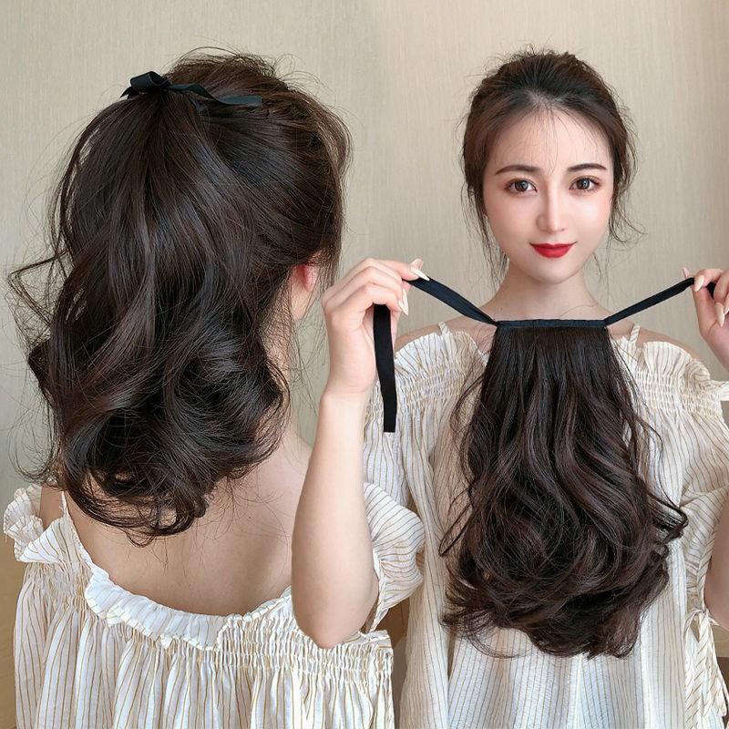 。真发马尾少量轻假假发女微卷短辫子隐形短卷发绑带式短发假发尾