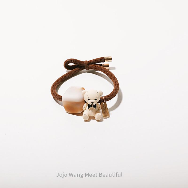 小奶盖+小熊~弹力巨大混搭头绳短发扎头发皮筋韩国网红头绳百搭