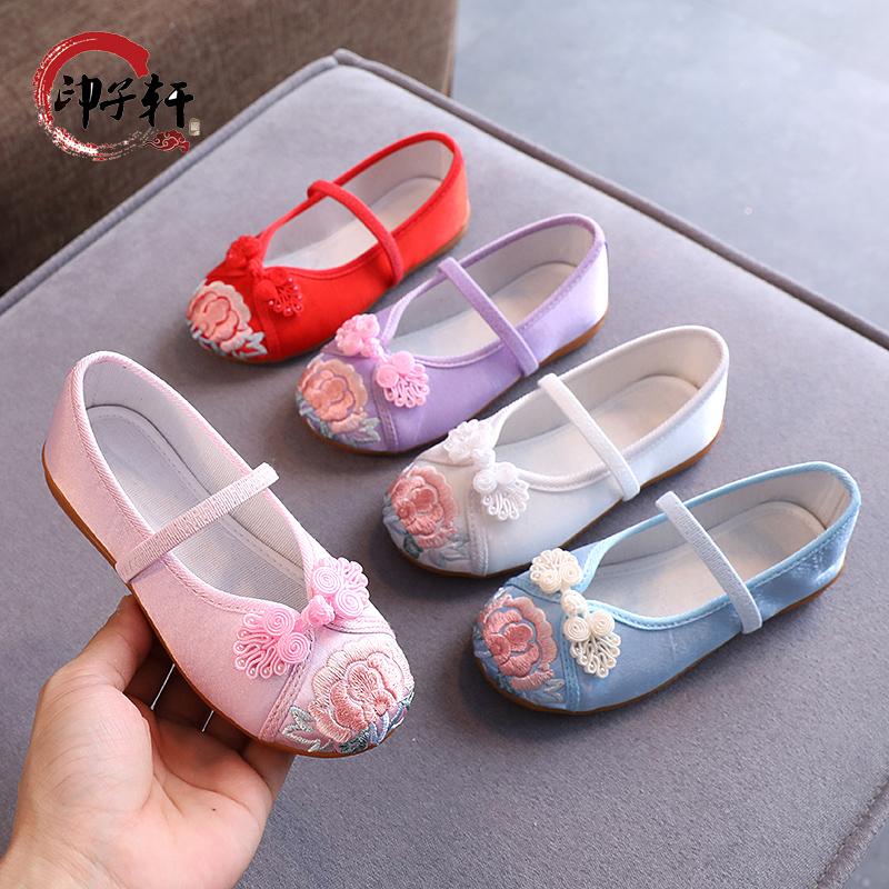 儿童汉服鞋子女童绣花鞋老北京布鞋中国风宝宝学生古装古风鞋中国
